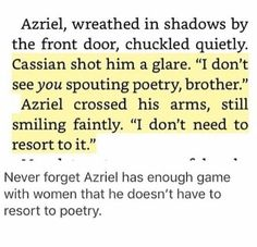 I love Azriel so much holy cauldron A Court Of Wings And Ruin, A Court Of Mist And Fury, Sara J Maas, Sarah J Maas Books, Throne Of Glass Series, Rhysand, Book Fandoms, Book Nerd, Love Book