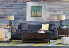 Living Spaces: Put Down Roots - love the stained/planked walls