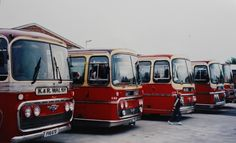 A line up of single deck vehicles on display in the yard at Chilwell