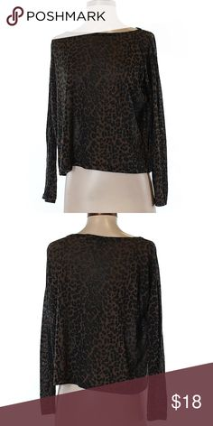 """Akira Chicago Red Label Long Sleeve T-Shirt Size S Akira Chicago Red Label Long Sleeve T-Shirt. Brown and Black Animal Print. Women's size small. Boat Neckline. Measurements 44"""" Chest 18"""" Length. 50% Rayon 50% Polyester. Gently used condition. Akira Chicago Red Label Tops Tees - Long Sleeve"""