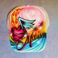 Airbrush Trucker Hat Zebra Heart Wings, Airbrush Hat, Zebra Hat, Tattoo Hat
