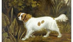 British School, 19th century - Cavalier King Charles Spaniel in a landscape oil on canvas laid to board - 25 1/2 x 30 in. (64.1 x 76.2 cm)