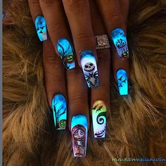 Glow in the dark nightmare before christmas nails christmas nail designs, christmas nail art, Disney Acrylic Nails, Halloween Acrylic Nails, Disney Nails, Halloween Nail Designs, Best Acrylic Nails, Cute Nail Designs, Disney Halloween Nails, Disney Christmas Nails, Halloween Couples