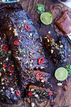 You Have Meals Poisoning More Normally Than You're Thinking That Extra Sticky Thai Bbq Ribs W-Peanut Bbq Sauce Sweet Thai Ginger Slaw Pork Rib Recipes, Grilling Recipes, Cooking Recipes, Smoker Recipes, Milk Recipes, Cooking Tips, Bbq Pork Ribs, Half Baked Harvest, Pork Dishes