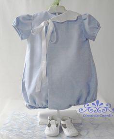 Adorable little baby boys romper suit in pale blue