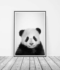 Black and White Nursery Baby Panda Print Cute by LittleInkEmpire