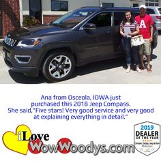 Congratulations to Ana on her recent purchase of a Jeep Compass! Enjoy your new whip! 🎉#wow #wowwoodys #woodysautomotive #cars #trucks #suvs #carsforsale #trucksforsale #suvsforsale #kansascity #chillicothe #customerreviews #customertestimonials #wowcarbuying #carshopping #happycustomers #2018jeepcompass #jeepcompass #jeep #compass