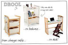 Stokke Care Changing Table converts to bookcase and desk Changing Table With Drawers, Baby Changing Tables, Diaper Changing Station, Kids Bedroom, Bedroom Decor, Nursing Chair, Organisation Hacks, Shared Bedrooms, Baby Boy Rooms