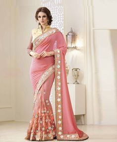 Designer Soft Silk Georgette Saree With Net&Banarasi Silk Brocketblouse Fabric