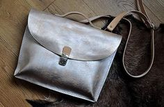 Silver Pearl leather briefcase by @burtsevbags