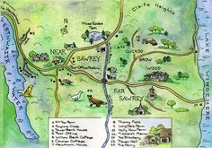 Map of Near and Far Sawrey, near Beatrix Potter's Lake District home in Cumbria, England, UK
