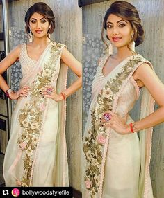 #Repost @BollywoodStylefile Shilpa Shetty Kundra looking gorgeous in Designer outfit by Anamik Khanna for Superdancer last week shoot @BOLLYWOODSTYLEFILE ❤❤❤!