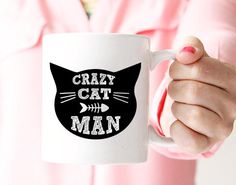 """""""Crazy cat man"""" coffee mug is a cute Fathers day gift idea for the crazy cat man in your life by artRuss."""