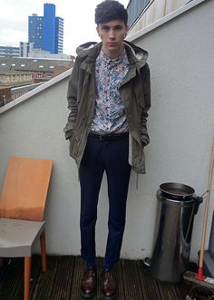 Fred Perry X Liberty Shirt, Topman Parka, Suit Trousers, Dr. Martens Made In England 3989, American Apparel Belt