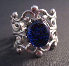 cobalt glass filigree ring   by AndreaCGlassArt  #fashion #jewelry #blue