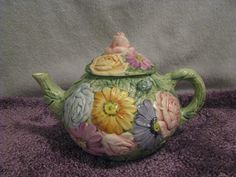Hand painted in Italy Beautiful floral teapot. | eBay