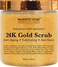 24K Gold Body Scrub and Facial Scrub from Majestic Pure, 8.8 Oz - Ancient Anti Aging Body and Face Scrub Formula Helps Bringing Youthful Radiance ** To view further, visit now : SkinCare mask