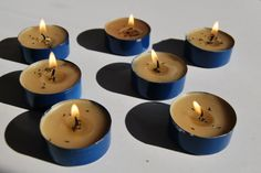 (BlaueB) Lumen scented candles with blue flowers seeds