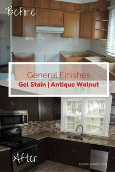 I used general finishes gel stain in antique walnut to refinish my kitchen cabinets. Check it out!