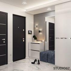 Hallway interior in gray color picture - Eingang Bedroom Closet Design, Home Room Design, Living Room Designs, House Design, Lobby Design, Hall Design, Dressing Table Design, Corridor Design, Home Entrance Decor