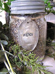 Glass Kerr Mason Canning Jar Vintage Zinc Lid Lavender MERCI' Metal Spoon Design.
