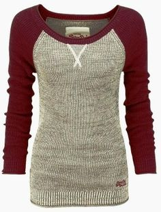 Maroon and Gray Baseball Sleeves Sweater