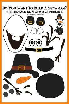 Say hello to Thanksgiving Olaf - Pilgrim Edition! Do you want to build a snowman? Then grab the free printable of this Olaf that is perfect for keeping the kids occupied at Thanksgiving. This is a great paper activity for Frozen fans of all ages! Disney Thanksgiving, Fall Preschool, Thanksgiving Quotes, Thanksgiving Crafts For Kids, Holiday Crafts, Thanksgiving Appetizers, Thanksgiving Outfit, Thanksgiving Table, Olaf Craft