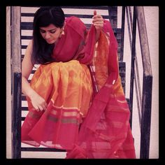 Chanderi ikkat sari Girl Photo Poses, Girl Poses, Saree Blouse, Sari, Elegant Saree, Girls Dpz, Saree Styles, Cotton Saree, Girl Photography