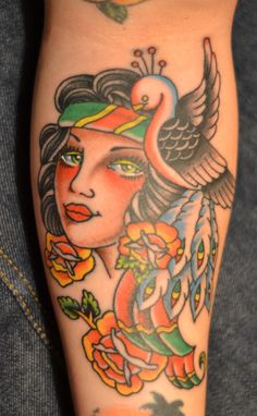 My new gorgeous tat #oldschool #gypsy #color theory #maddoxtattooer