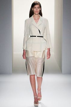 """Look 7 Calvin Klein Collection Spring 2013 """"There's this artist I really love, who I've collaborated with in the past, his name is Carsten Nicolai, and he created this book where he developed numerous moire patterns with this formula. It's done by layering structures together. In order to create the fabrics we really went deep into his works and what these structures are and how to create the shadow work."""" Francisco Costa via Dazed Digital"""