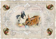 Osterdeko - 4 x vintage Ostern auf A 4 Papieretikett DIY - ein Designerstück von vichylein- bei DaWanda