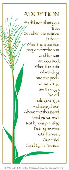 Adopted Child S Poem Cards And Prints Baby Blessings