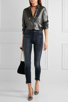 Mother - The Stunner Frayed High-rise Skinny Jeans - Dark denim