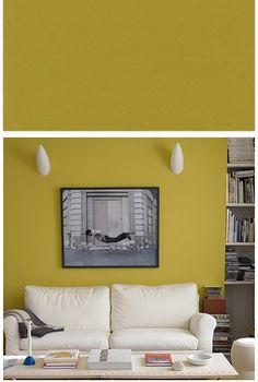 un jaune moutarde sur les murs actualise ce salon et met en valeur le canap en