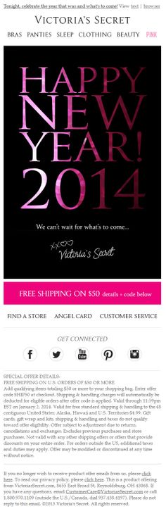Sent; 12/31/13 SL:'3... 2... 1...' Happy New Year email from Victoria's Secret - love the subject line!