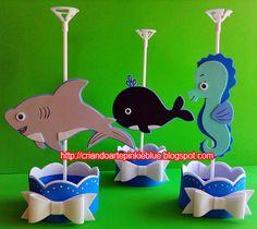 Centro de mesa de festa infantil.  Tema fundo do mar.  Modelo base redonda pra por balinhas modelo com laço.  Enfeite todo feito de e.v.a. ...