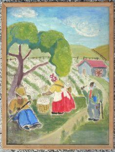 1930s Black Folk Art Southern cotton pickers painting #BlackFolkArt