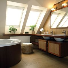 like the look of the vanity cabs and exposed sink bottoms