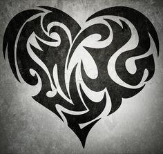 how to draw a tribal heart tattoo