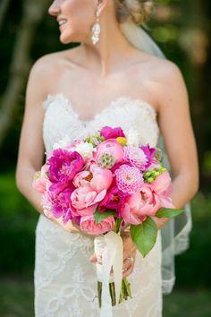 Pink peony bouquet | A Pink Vintage Chic North Carolina Wedding via TheELD.com