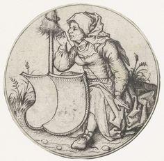 Supported spinning of linen ??  Spinnende boerin met een blank wapenschild, Meester van het Amsterdamse Kabinet, 1475
