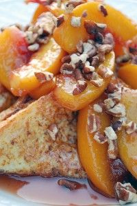 French toast with Bourbon peach sauce...have a grown up Brunch picnic  and serve this dish...Delicious!