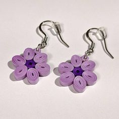 Purple Flower Paper Quilling Earrings First Paper Paper Quilling Earrings, Paper Quilling Flowers, Gold Star Earrings, Simple Earrings, Star Jewelry, Paper Jewelry, Diy Jewelry, Jewelry Necklaces, Necklaces