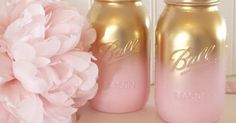 Pink and Gold Ombre Mason Jars - Gender Reveal - Baby Shower Gold Mason Jars - Bridal Shower Centerpieces - Gold Mason Jars - Gold Mason Jar | Pink And Gold an…