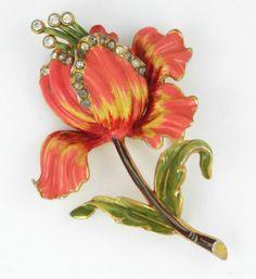 1940s RARE Coro Adolph Katz Vintage Enamel Flower Clear Paste Pot Metal Brooch | eBay