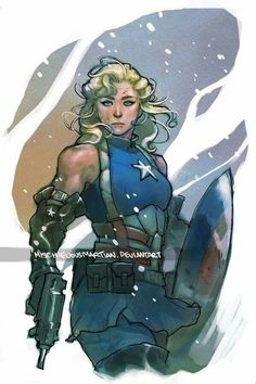 "arkhane: "" Lady Captain America and Lady Thor Art by Yasmine Putri "" Comic Book Characters, Comic Character, Comic Books Art, Comic Art, Character Design, Book Art, Marvel Comics, Marvel Dc, Marvel Universe"