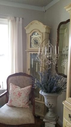 Painted grandfather clock French Country Cottage, Shabby Cottage, French Country Decorating, French Farmhouse, Cottage Style, Repurposed Grandfather Clock, Grandfather Clocks, Funky Furniture, Painted Furniture