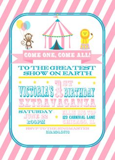 Circus Birthday Invitation PINK Printable by GeminiCelebrations