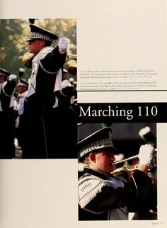 """Athena Yearbook, 2004. """"It takes practice and dedication to become a member of Ohio University's Marching 110, but practice leads to fun as members of the Marching 110 perform during the Homecoming parade on Oct. 11, 2003"""" :: Ohio University Archives"""