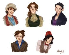 Time Ladies: Last 5 Doctors from Dr. Who, represented as women.  Picture by Gladys @ http://rocketssurgery.tumblr.com